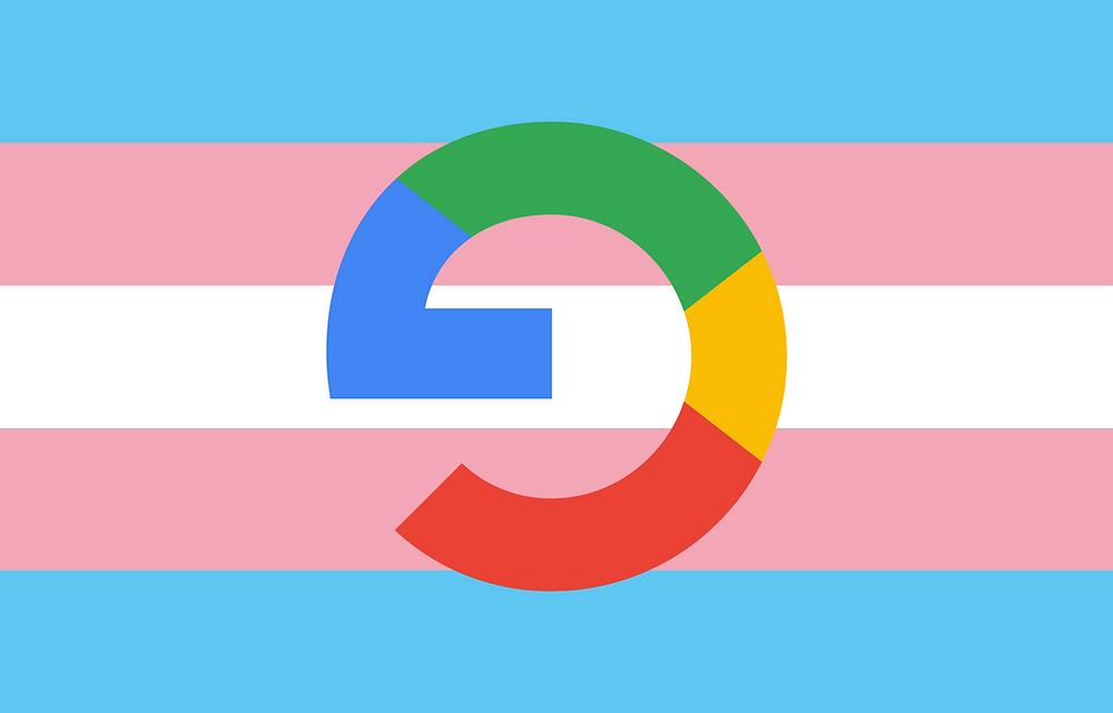 Transgender pride flag with a Google branded G upside down