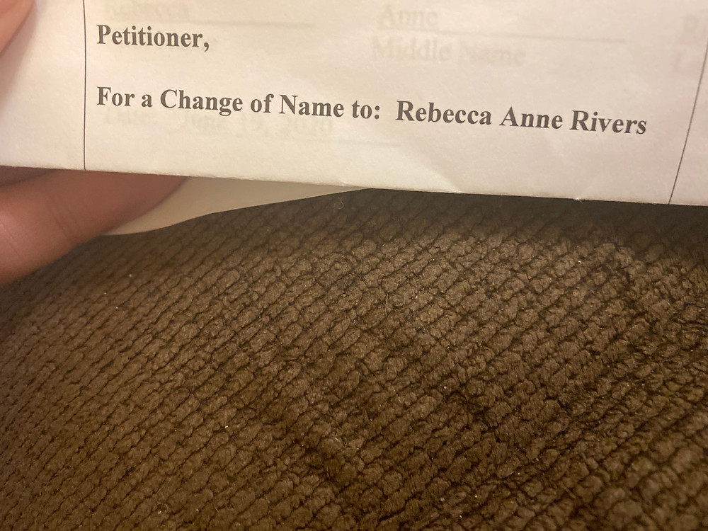 "Name Change Document reading ""Petitioner, For a Change of Name to Rebecca Anne Rivers"""
