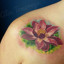 Lotus Lily Flower Color Tattoo
