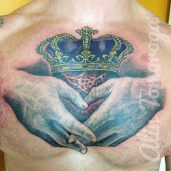 Claddagh Chest Tattoo