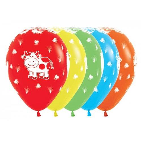 Farm Animal Latex Printed Balloons - Pkt of 5