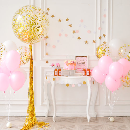 Pretty in Pink & Gold Confetti Balloons