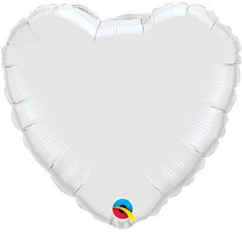 Heart Foil Balloon - White