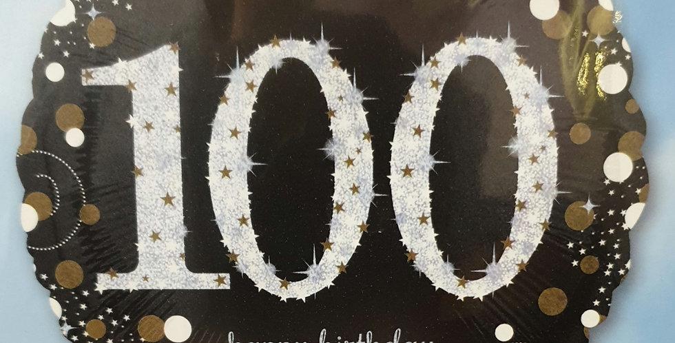 Birthday Foil 100th Black Gold