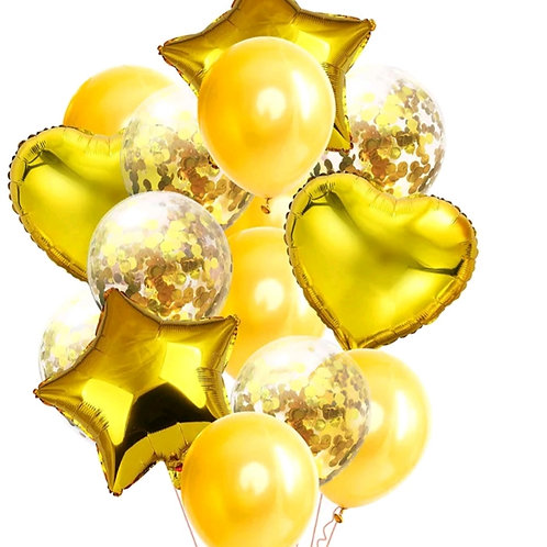 Confetti Balloon Gold, Heart and Star Bouquet