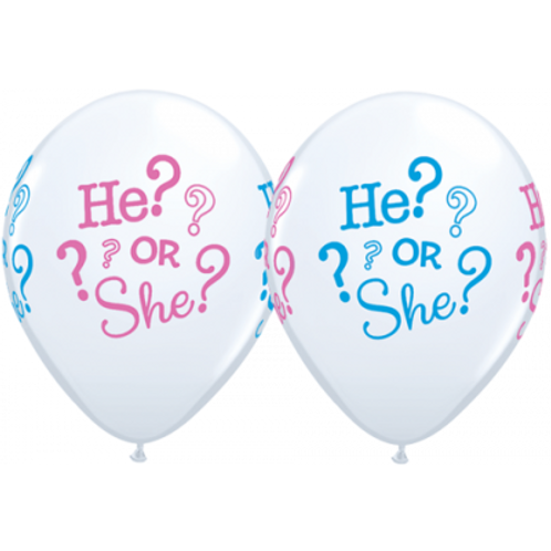 He or She Latex Balloons Pkt 5