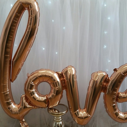 Love Script Rose Gold Balloon