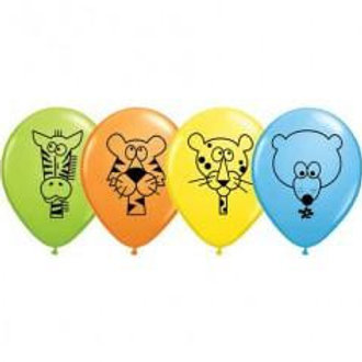 Wild Animal Printed Balloons 28cm - Pkt of 8