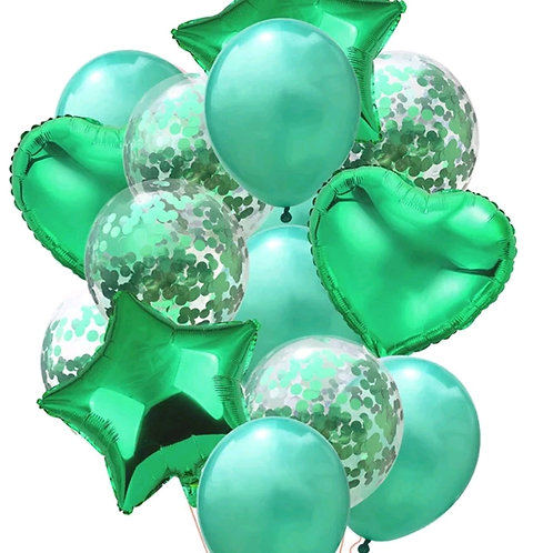 Confetti Balloon Green, Heart and Star Bouquet