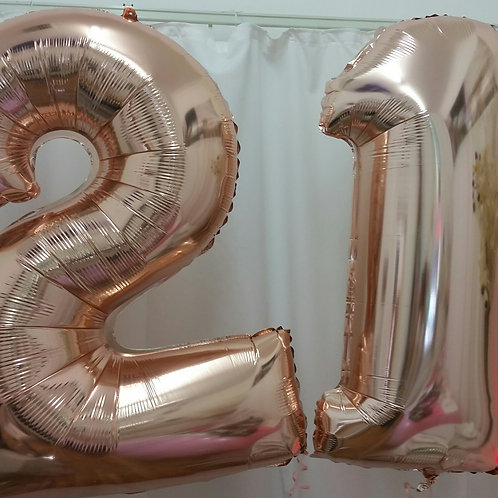 Rose Gold Supershape Number 21 Foil Balloons