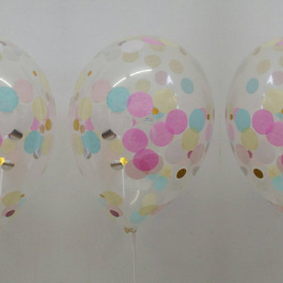 Pretty Pastel Confetti Balloon with a little sparkle 30cm Helium filled each