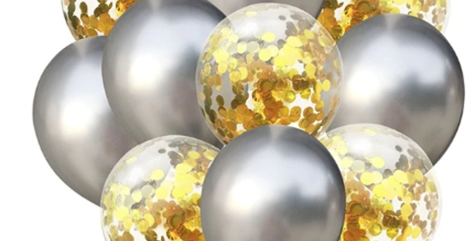 Confetti Balloon Chrome Silver and Gold Bouquet