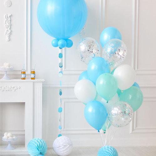 Blue, Mint & Confetti Balloon Mix