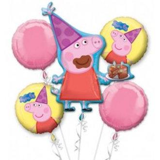 Peppa Pig Balloon Bouquet - Pkt of 5