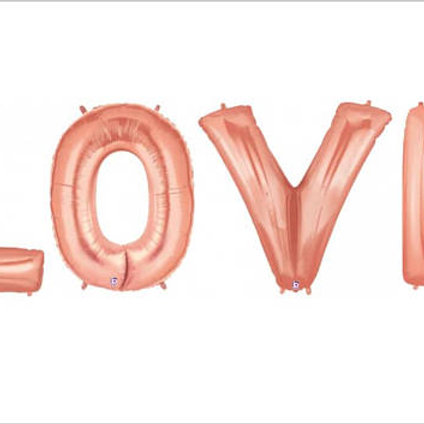 LOVE Rose Gold Supershape Letter Foils - Pkt of 4 Letters