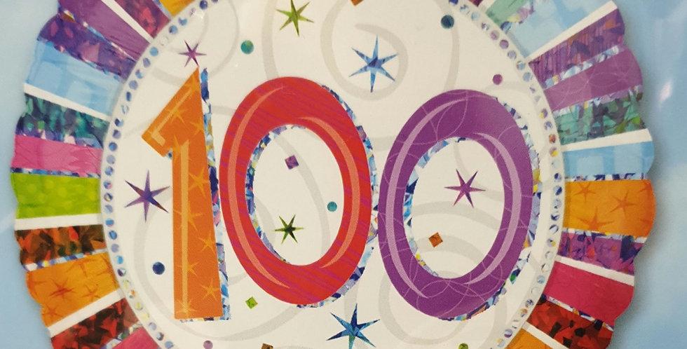 Birthday Foil 100th Multi Colour