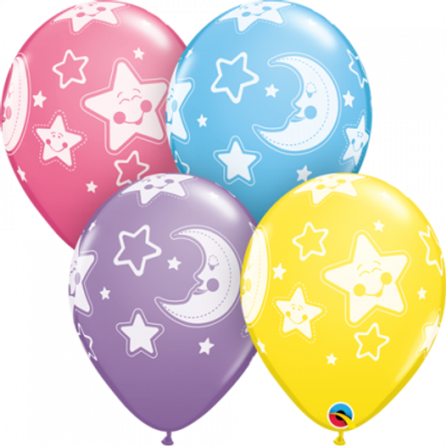 Stars and Moons Latex Balloon Pkt 4