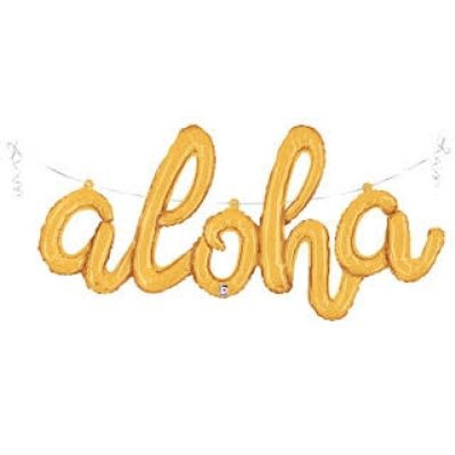 Aloha Script Foil Balloon