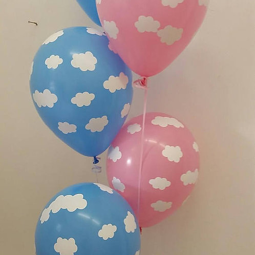 Cloud Printed Balloons Pink or Blue 30cm - Pkt of 3