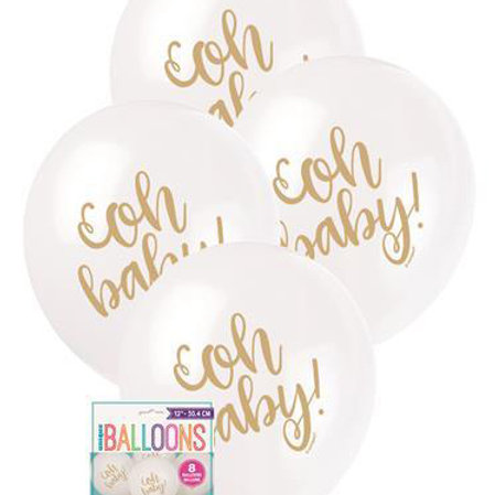 Oh Baby Baby Shower Balloons - Pkt of 8/28cm