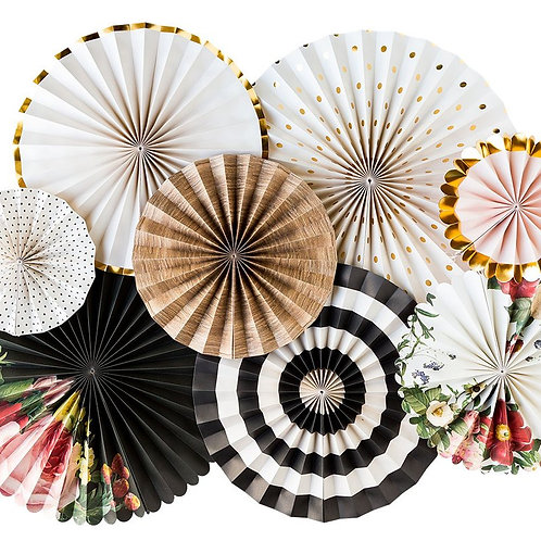 Botanical Paper Party Fans - Pkt of 8