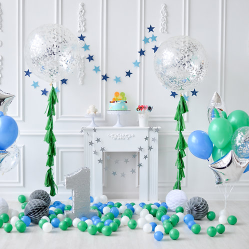 Green & Blue with Confetti Balloons