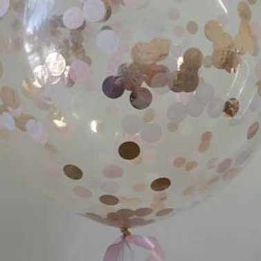 Jumbo 90cm Confetti Balloon Rose Gold, Peach, White - inflated + Delivery Charge