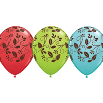 Woodland Foliage Printed Balloons - Pkt of 6