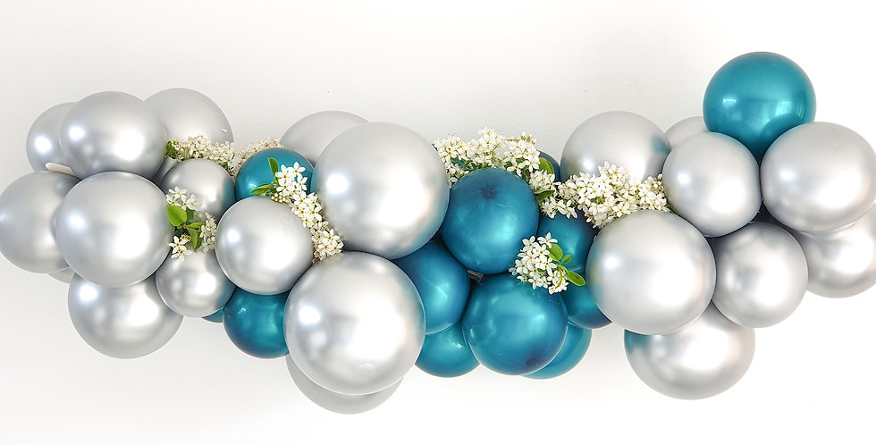 Balloon Garland DIY Kit - Chrome Silver and Teal