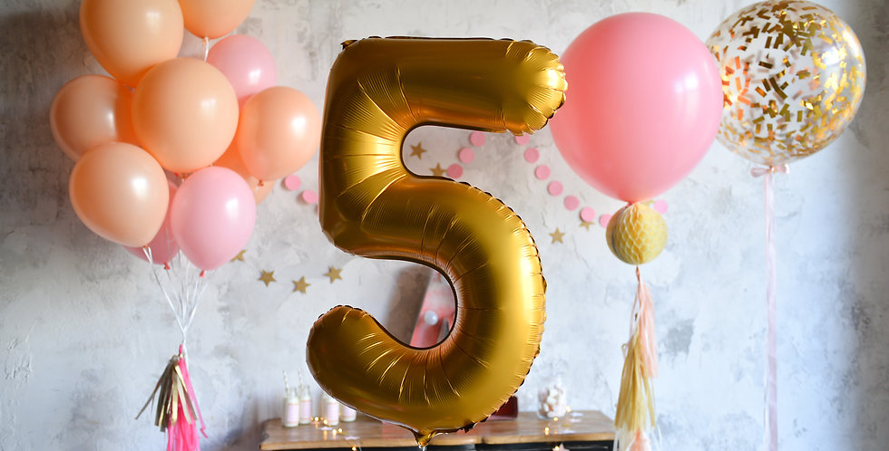 Giant Number with Peach - Pink Bouquet