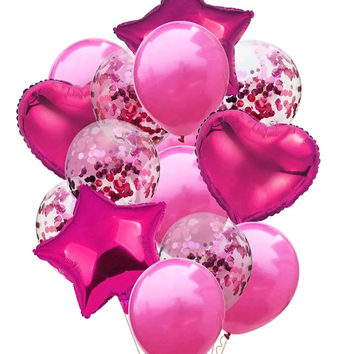 Confetti Balloon Hot Pink, Heart and Star Bouquet