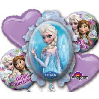 Frozen Anna and Elsa Foil Balloon Bouquet - Pkt of 5
