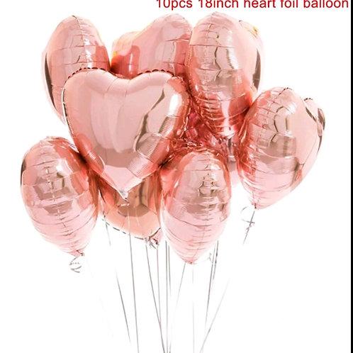 Rose Gold Heart Foil Balloon Pkt 10