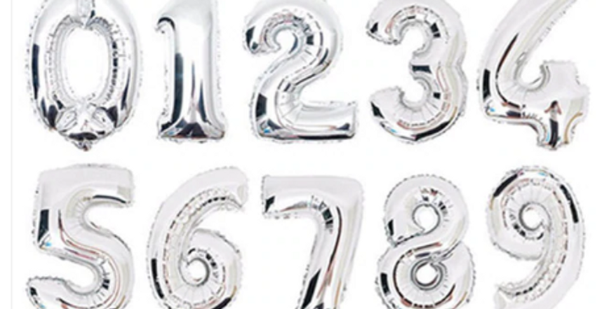 Number Balloon 86cm - Silver on weight