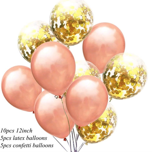 Confetti Balloon Metallic Rose Gold and Gold Bouquet