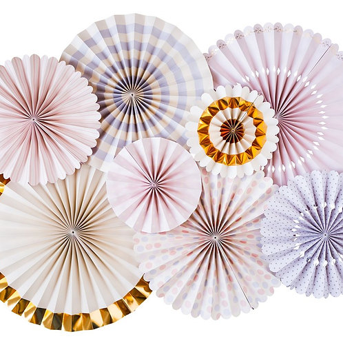 Princess Lilac Paper Fan Hanging Decorations - Packet of 8