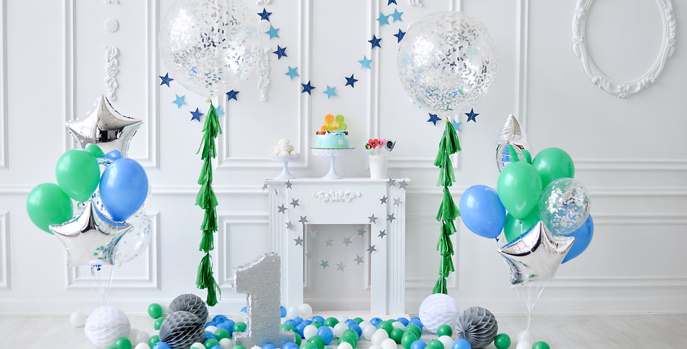 Green and Blue Balloon Bouquet
