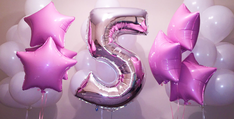 Giant Number - Pink Balloon Bouquet