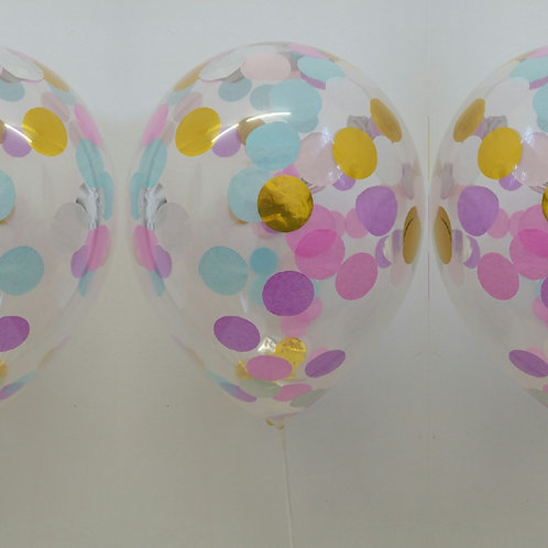 Unicorn Confetti Balloons 30cm Helium filled each + delivery
