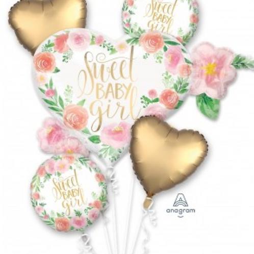 Sweet Baby Girl Foil Balloon Bouquet