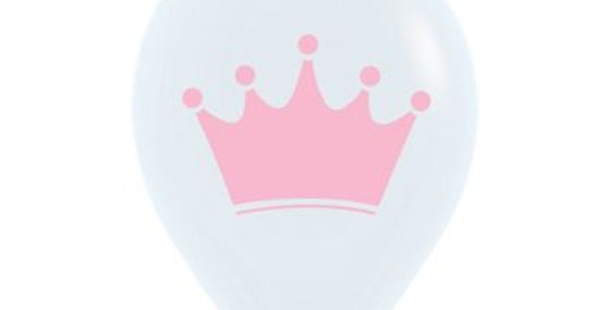 Pink Crown Print Helium Balloon 28cm
