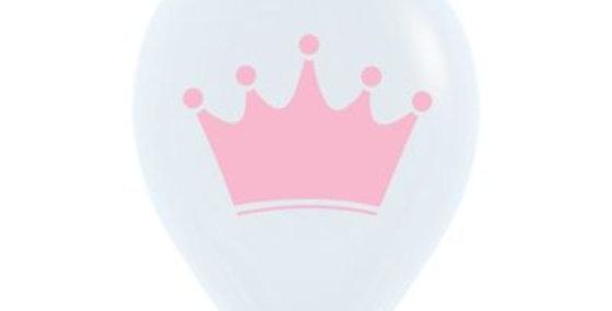 Pink Crown Print Helium Balloon 28cm