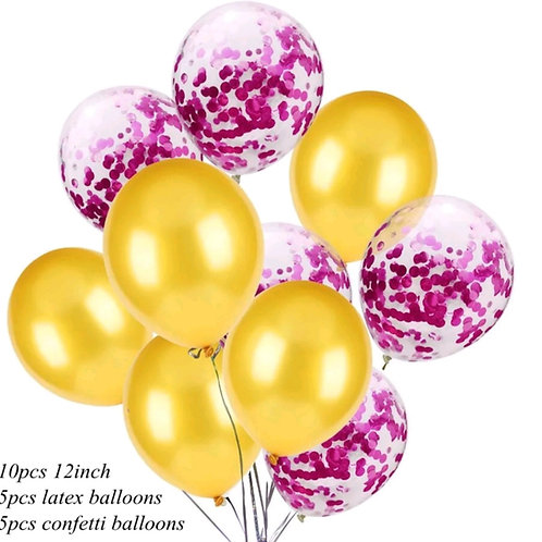 Confetti Balloon Metallic Gold and Hot Pink Bouquet