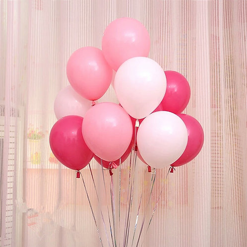 Pretty mix of Pinks & White Balloons 30cm Pkt 12