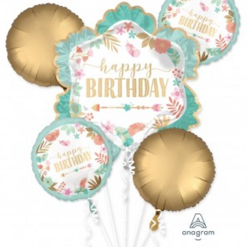 Boho Happy Birthday Balloon Bouquet