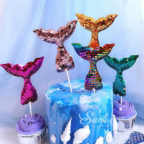 Mermaid Tail Cake Toppers - set of 5