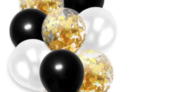 Confetti Balloon Black, White, Gold Bouquet