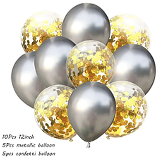 Confetti Balloon Chrome Silver and Gold Bouquet