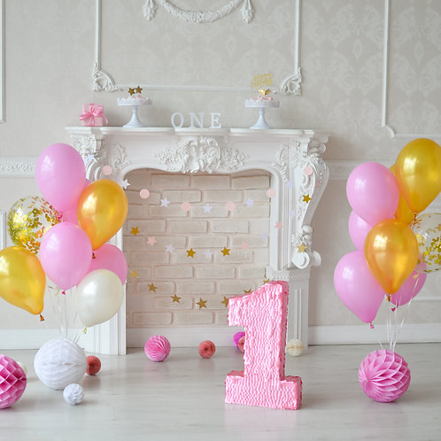Pink, Gold, White & Confetti Balloon Bouquets