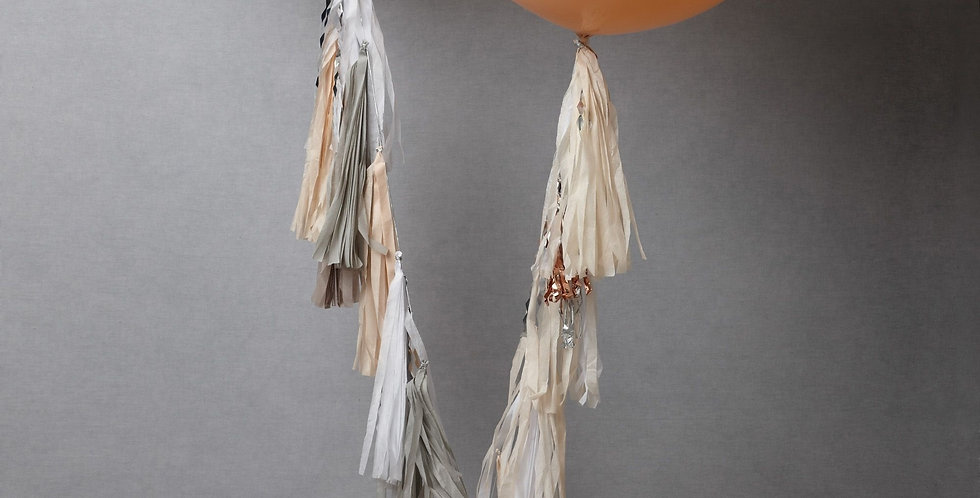 Giant White and Rose Gold Balloons with Tassels